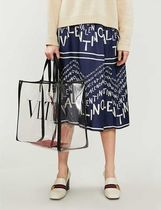 VALENTINO Casual Style Street Style A4 Plain PVC Clothing Logo Totes