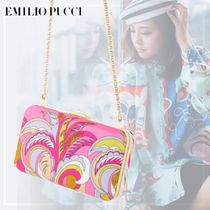 Emilio Pucci Chain Leather Party Style Clutches