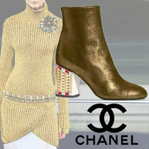 CHANEL Plain Leather Block Heels Party Style Ankle & Booties Boots