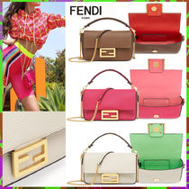FENDI BAGUETTE 2WAY Bi-color Chain Plain Leather Elegant Style