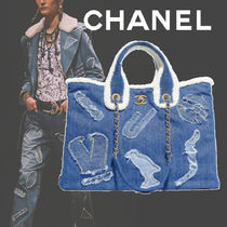 CHANEL Unisex Canvas Blended Fabrics A4 2WAY Chain Totes