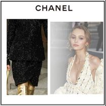 CHANEL Pencil Skirts Short Tweed Plain Skirts
