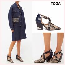 TOGA Casual Style Studded Plain Leather Block Heels Python