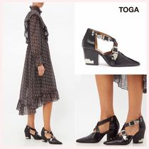 TOGA Casual Style Studded Plain Leather Block Heels
