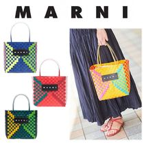 MARNI MARNI MARKET Other Check Patterns Handmade PVC Clothing Straw Bags
