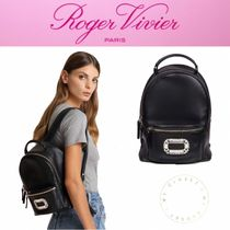 Roger Vivier Casual Style Plain Leather Handmade With Jewels Backpacks
