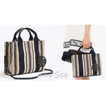 Tory Burch MILLER Stripes Canvas 2WAY Elegant Style Totes