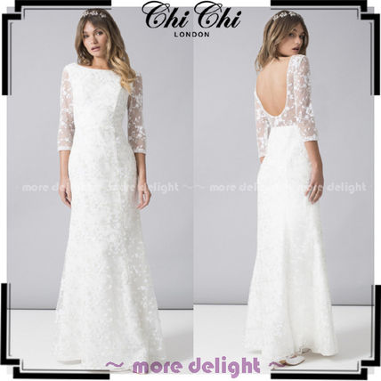 Chi Chi London Flower Patterns Maxi Long Sleeves Long Lace Wedding Dresses