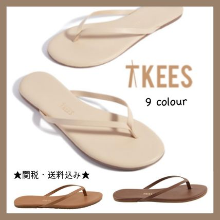 Casual Style Leather Flip Flops Flat Sandals