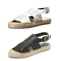 Rebecca Minkoff Open Toe Rubber Sole Casual Style Blended Fabrics