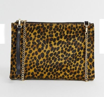 Leopard Patterns Casual Style Leather Shoulder Bags