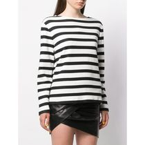 Saint Laurent Crew Neck Stripes Casual Style Street Style Long Sleeves