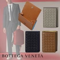 BOTTEGA VENETA Unisex Bi-color Plain Leather Folding Wallets