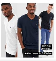 Abercrombie & Fitch Street Style V-Neck Plain Cotton Short Sleeves