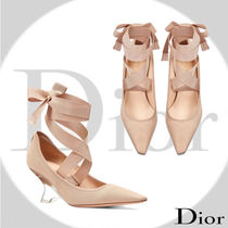 Christian Dior Blended Fabrics Plain Elegant Style Wedge Pumps & Mules