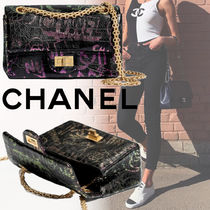 CHANEL Flower Patterns Unisex 2WAY Chain Leather