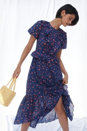 Crew Neck Flower Patterns Puffed Sleeves Cotton Long Dresses