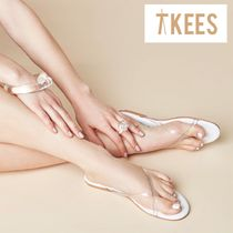 TKEES Open Toe Casual Style Plain PVC Clothing Sandals