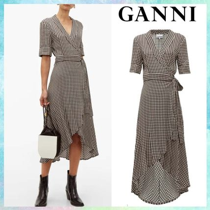 Wrap Dresses Gingham Casual Style V-Neck Medium