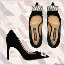 Sergio Rossi Stripes Blended Fabrics Plain Leather Pin Heels