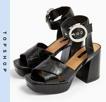 TOPSHOP Casual Style Faux Fur Heeled Sandals