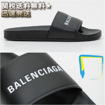 BALENCIAGA Street Style Leather Shower Shoes Shower Sandals