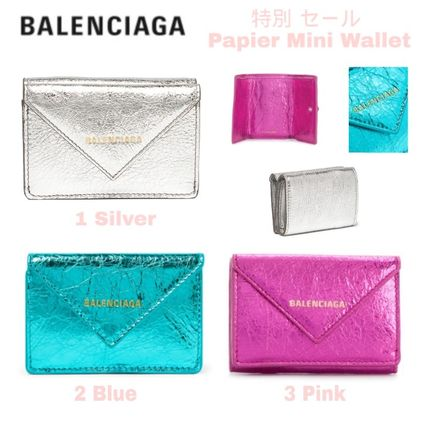 BALENCIAGA Folding Wallets Unisex Calfskin Blended Fabrics Plain Folding Wallets