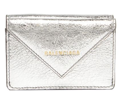 BALENCIAGA Folding Wallets Unisex Calfskin Blended Fabrics Plain Folding Wallets 2