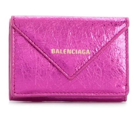BALENCIAGA Folding Wallets Unisex Calfskin Blended Fabrics Plain Folding Wallets 11