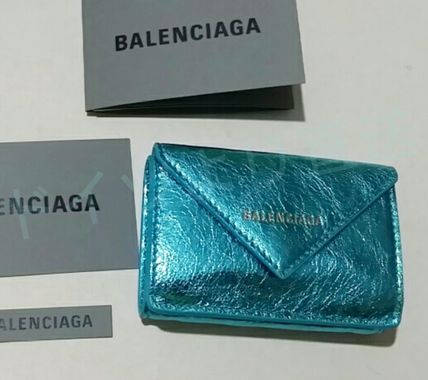 BALENCIAGA Folding Wallets Unisex Calfskin Blended Fabrics Plain Folding Wallets 14