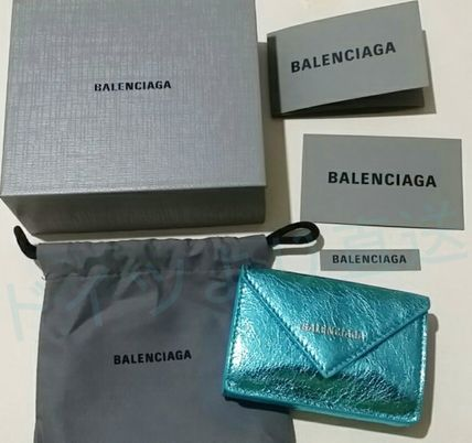 BALENCIAGA Folding Wallets Unisex Calfskin Blended Fabrics Plain Folding Wallets 15
