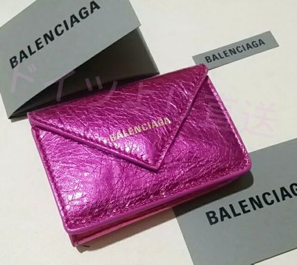 BALENCIAGA Folding Wallets Unisex Calfskin Blended Fabrics Plain Folding Wallets 16