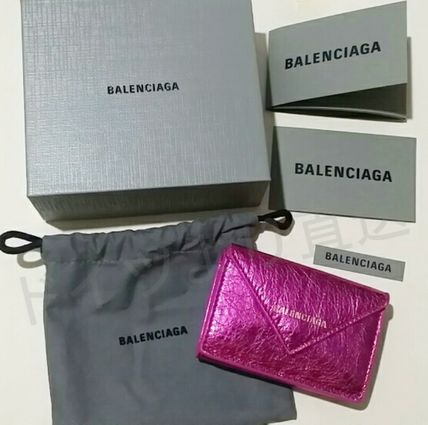 BALENCIAGA Folding Wallets Unisex Calfskin Blended Fabrics Plain Folding Wallets 17