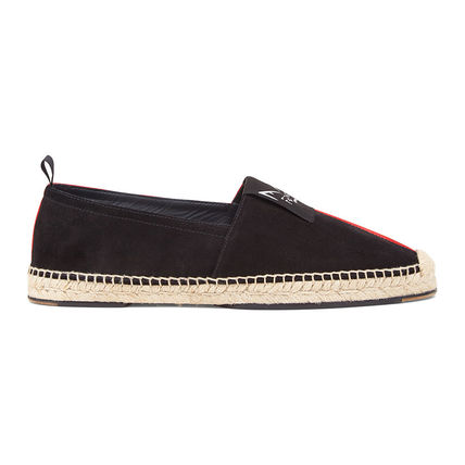 Street Style Bi-color Leather Logo Loafers & Slip-ons