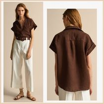 Massimo Dutti Casual Style Linen Short Sleeves Shirts & Blouses