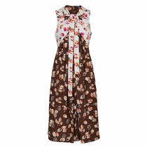 Louis Vuitton Flower Patterns A-line Silk Sleeveless Long Elegant Style