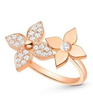 Louis Vuitton Blended Fabrics Flower 18K Gold With Jewels Rings