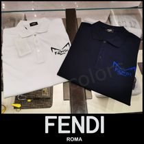 FENDI Pullovers Plain Cotton Short Sleeves Polos