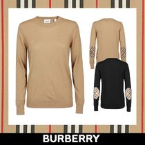 Burberry Crew Neck Other Check Patterns Wool Long Sleeves Plain