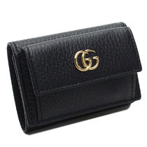 GUCCI GG Marmont Plain Leather Folding Wallets 523277