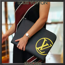 Louis Vuitton EPI Unisex Calfskin Street Style A4 2WAY Bi-color Clutches
