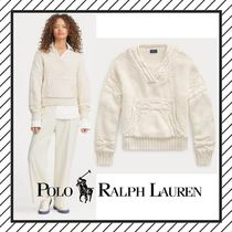 POLO RALPH LAUREN Cable Knit Casual Style Street Style V-Neck Long Sleeves