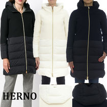 HERNO Wool Blended Fabrics Plain Medium Down Jackets
