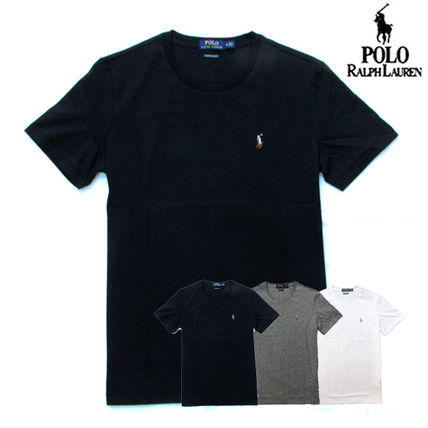 Ralph Lauren Crew Neck Crew Neck Pullovers Plain Cotton Short Sleeves