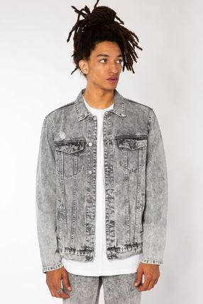 Short Denim Street Style Plain Denim Jackets Jackets