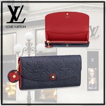 Louis Vuitton PORTEFEUILLE EMILIE Monogram Calfskin Studded Bi-color Long Wallets