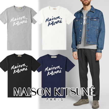 MAISON KITSUNE Crew Neck Crew Neck Pullovers Street Style Cotton Short Sleeves