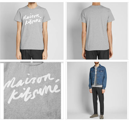 MAISON KITSUNE Crew Neck Crew Neck Pullovers Street Style Cotton Short Sleeves 3