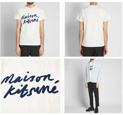 MAISON KITSUNE Crew Neck Crew Neck Pullovers Street Style Cotton Short Sleeves 4