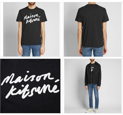 MAISON KITSUNE Crew Neck Crew Neck Pullovers Street Style Cotton Short Sleeves 5